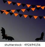 halloween garlands with bat | Shutterstock .eps vector #492694156