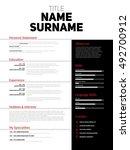 resume minimalist cv  resume... | Shutterstock .eps vector #492700912
