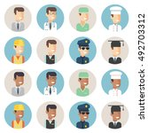men professions avatar flat... | Shutterstock .eps vector #492703312