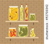 pickled vegetables and infused... | Shutterstock .eps vector #492703342