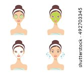 skin care face masks and beauty ... | Shutterstock .eps vector #492703345