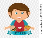 child cartoon boy fast food | Shutterstock .eps vector #492705322