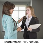 two egyptian business women... | Shutterstock . vector #492706906