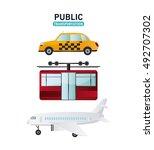 public transportation vehicles... | Shutterstock .eps vector #492707302