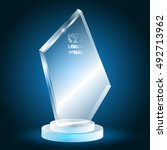 3d glass trophy on a blue...   Shutterstock .eps vector #492713962