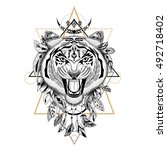 detailed tiger in aztec style | Shutterstock .eps vector #492718402