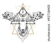 detailed moose in ethnic  boho  ... | Shutterstock . vector #492718405
