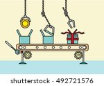 robots work in an packaging... | Shutterstock .eps vector #492721576
