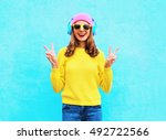fashion pretty cool smiling... | Shutterstock . vector #492722566