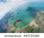 aerial view of parachutists on... | Shutterstock . vector #492724282