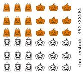 pumpkin face in candy bag  and...