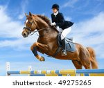 Small photo of Young girl jumping with sorrel horse
