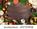 culinary wooden background with ... | Shutterstock . vector #492754948