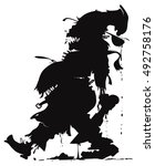 vector silhouette of the zombie ... | Shutterstock .eps vector #492758176
