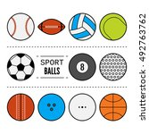 set of sport balls for games.... | Shutterstock .eps vector #492763762