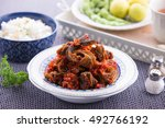 hot and spicy stir fried eel on ... | Shutterstock . vector #492766192