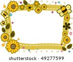 Sunflower And Bee Frame   Vector