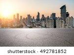 empty floor with modern skyline ... | Shutterstock . vector #492781852