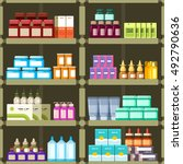 pharmacy shelves with pills and ... | Shutterstock .eps vector #492790636