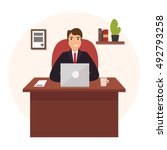 businessman working at office... | Shutterstock .eps vector #492793258