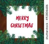 merry christmas lettering in... | Shutterstock .eps vector #492806686
