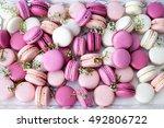 closeup colorful macarons... | Shutterstock . vector #492806722