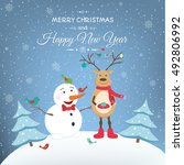 christmas and new year greeting ... | Shutterstock .eps vector #492806992