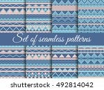 set seamless ethnic pattern ... | Shutterstock .eps vector #492814042