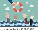 drowning businessmen getting... | Shutterstock .eps vector #492821938