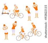 elderly people doing exercises...   Shutterstock . vector #492822115