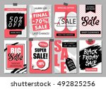 set of social media sale... | Shutterstock .eps vector #492825256