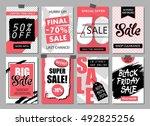 set of social media sale... | Shutterstock .eps vector #492825256