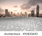 empty floor with modern skyline ... | Shutterstock . vector #492833692