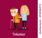 volunteer girl caring for... | Shutterstock .eps vector #492836572