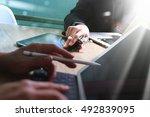 medical technology network team ... | Shutterstock . vector #492839095
