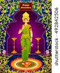 indian goddeess lakshmi giving... | Shutterstock .eps vector #492842506