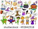 different decorative happy... | Shutterstock .eps vector #492842518