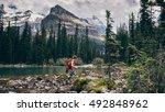 girl hikes lake o'hara hiking... | Shutterstock . vector #492848962