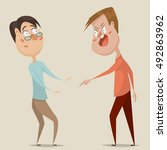 aggressive man threats and... | Shutterstock .eps vector #492863962
