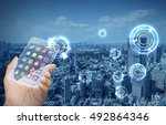 futuristic smart phone and... | Shutterstock . vector #492864346