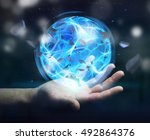 superhero creating an exploding ... | Shutterstock . vector #492864376
