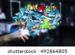 businessman connecting tech...   Shutterstock . vector #492864805