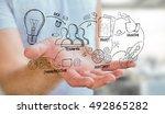 businessman holding manuscript... | Shutterstock . vector #492865282