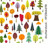 colorful autumn seamless... | Shutterstock .eps vector #492866698