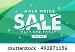 half price sale discount banner ... | Shutterstock .eps vector #492871156