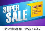 super sale banner template | Shutterstock .eps vector #492871162