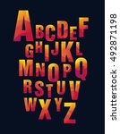 bright geometric alphabet ... | Shutterstock .eps vector #492871198