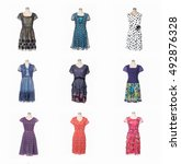 female evening gown clothing on ... | Shutterstock . vector #492876328