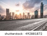 city road with cityscape and... | Shutterstock . vector #492881872