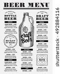 beer menu placemat food... | Shutterstock .eps vector #492884116